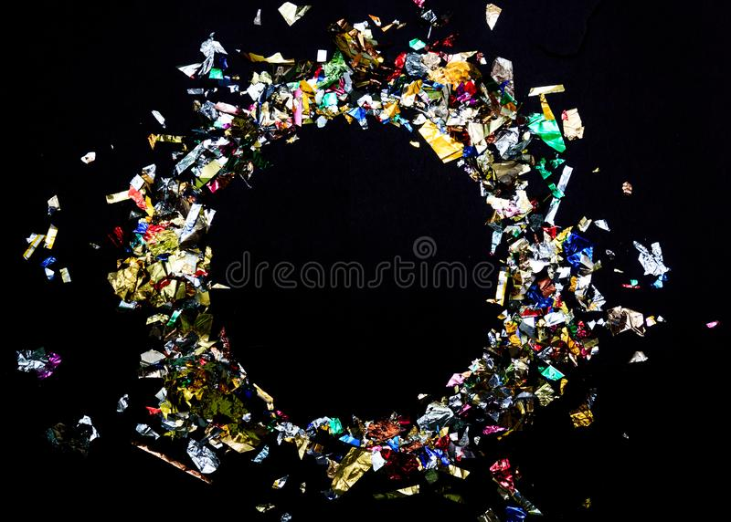 Bright festive carnival background with hats, streamers, confetti and balloons. Copy space.  stock photography