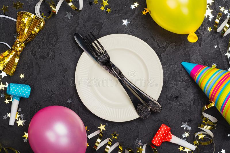Bright Festive Carnival Table Setting With Plate And Cutlery On ...