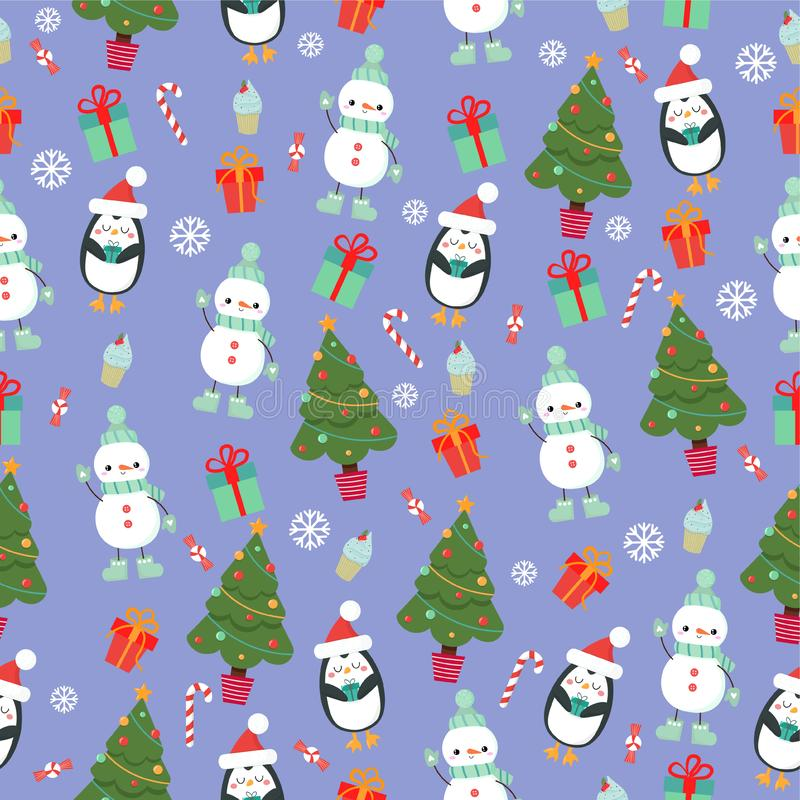 Bright, festive pattern with snowman, penguin, Christmas tree. Adorable, bright festive pattern with penguin, snowman, presents, Christmas tree, cupcakes royalty free stock image