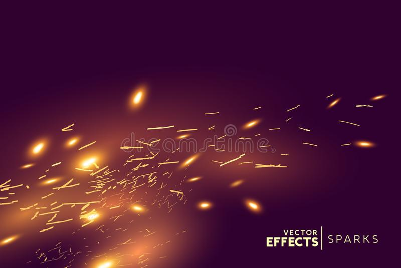 Bright Fire Sparks Effect Background stock illustration