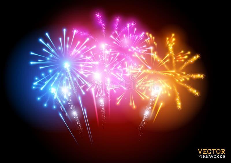 Bright Fireworks Display Vector. Illustration royalty free illustration