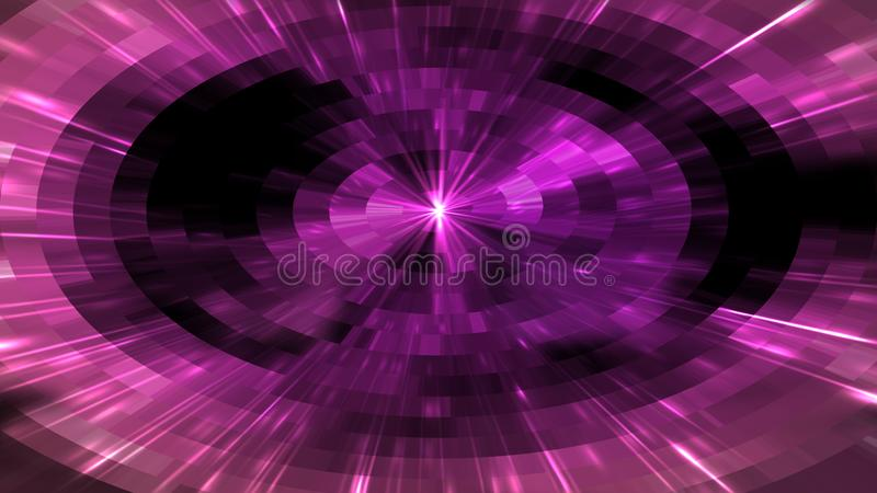 Bright flash in the tunnels with square particles in space, abstract 3d render background, computer generated. Bright flash in the tunnels with square particles royalty free stock photos