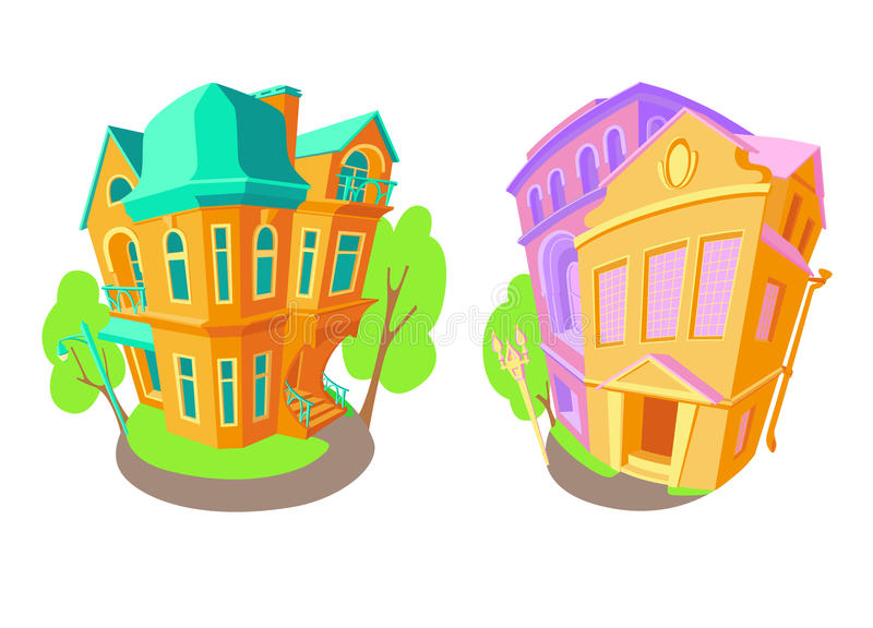 Bright flat vector volume icons of old houses in Victorian style and Baroque. Next street lights trees. House stock illustration