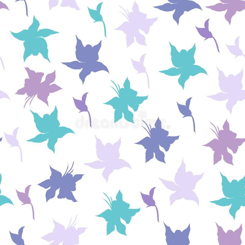Bright floral background with purple flowers vector. Endless texture for your design, tile and fabric vector illustration