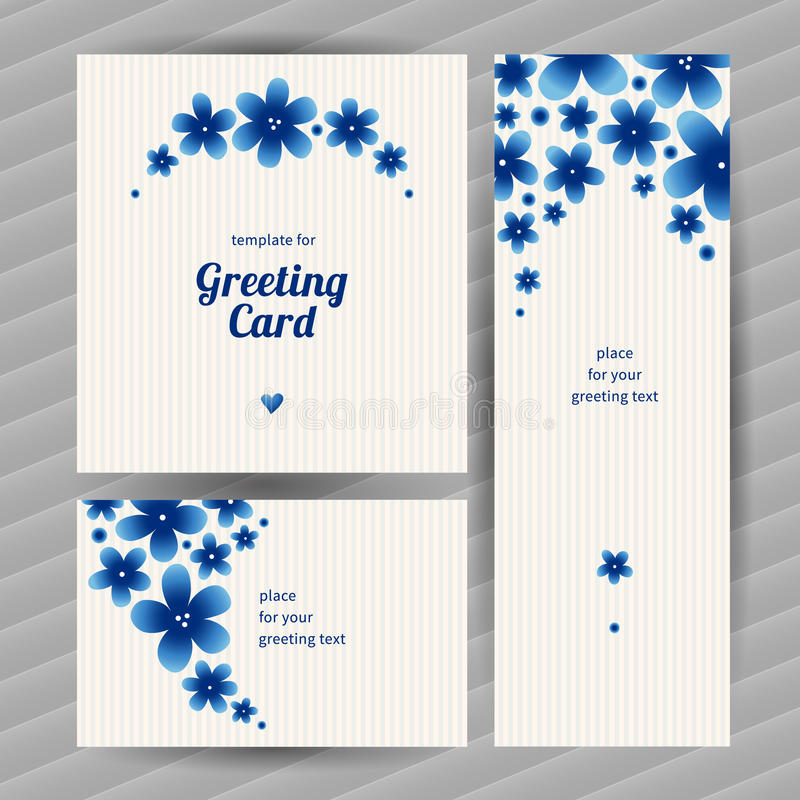Bright floral card with simple flowers. royalty free illustration