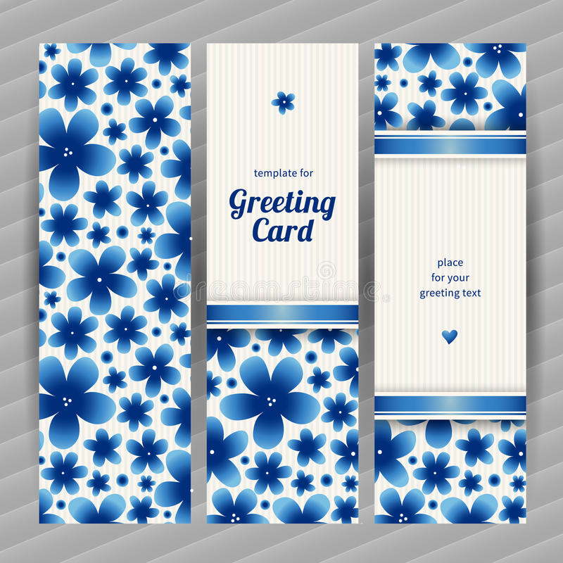 Bright floral card with simple flowers. stock illustration