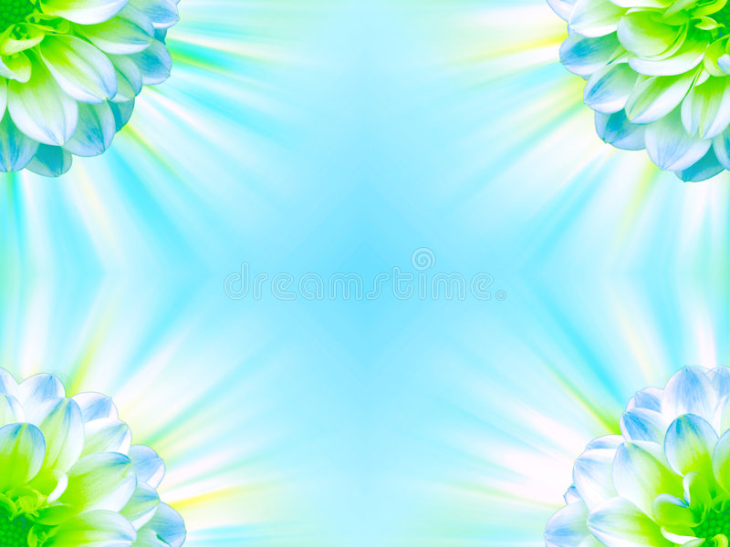 Bright Floral Frame. An illustration of a bright frame with a floral design in blue and green colors stock illustration