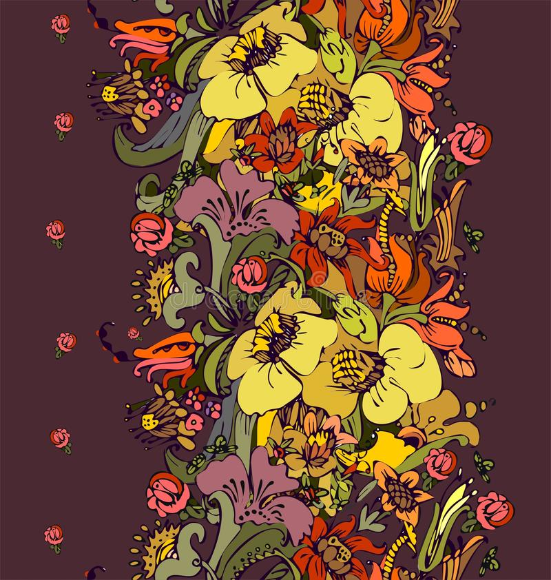 Bright floral ornamental in frieze of garden flowers royalty free illustration