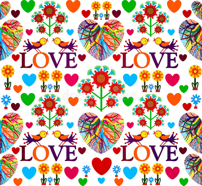 Bright floral romantic seamless pattern. Birds in love with hearts. Vector illustration, EPS10. royalty free illustration