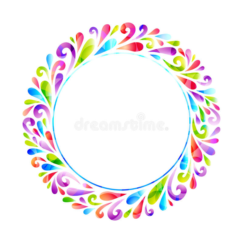 Bright floral round frame stock vector illustration of background vector floral decoration made from swirl shapes greeting invitation card decorative illustration for print web stopboris Choice Image