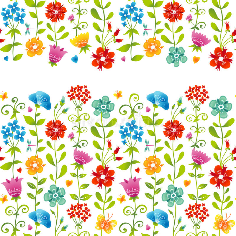 Bright floral seamless border with butterfly. royalty free illustration