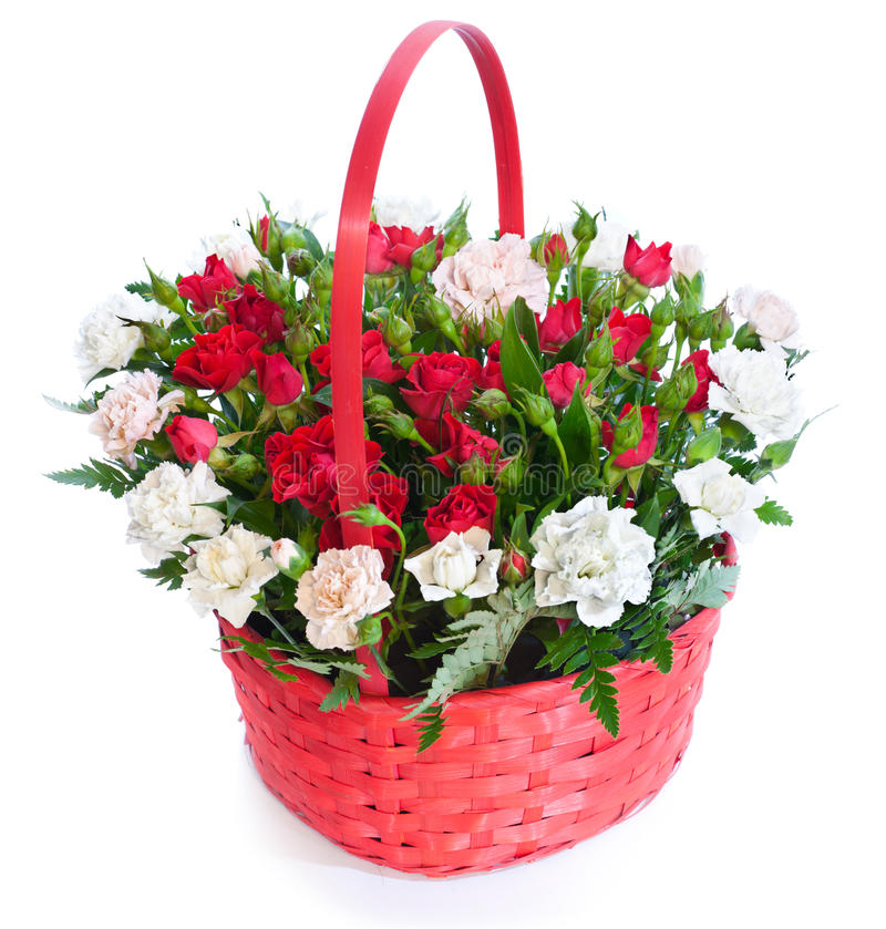 Free Bright Flower Bouquet In Basket Royalty Free Stock Photos - 20628978