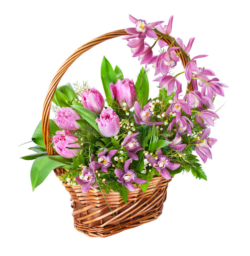 Free Bright Flower Bouquet In Basket Royalty Free Stock Photos - 30344888
