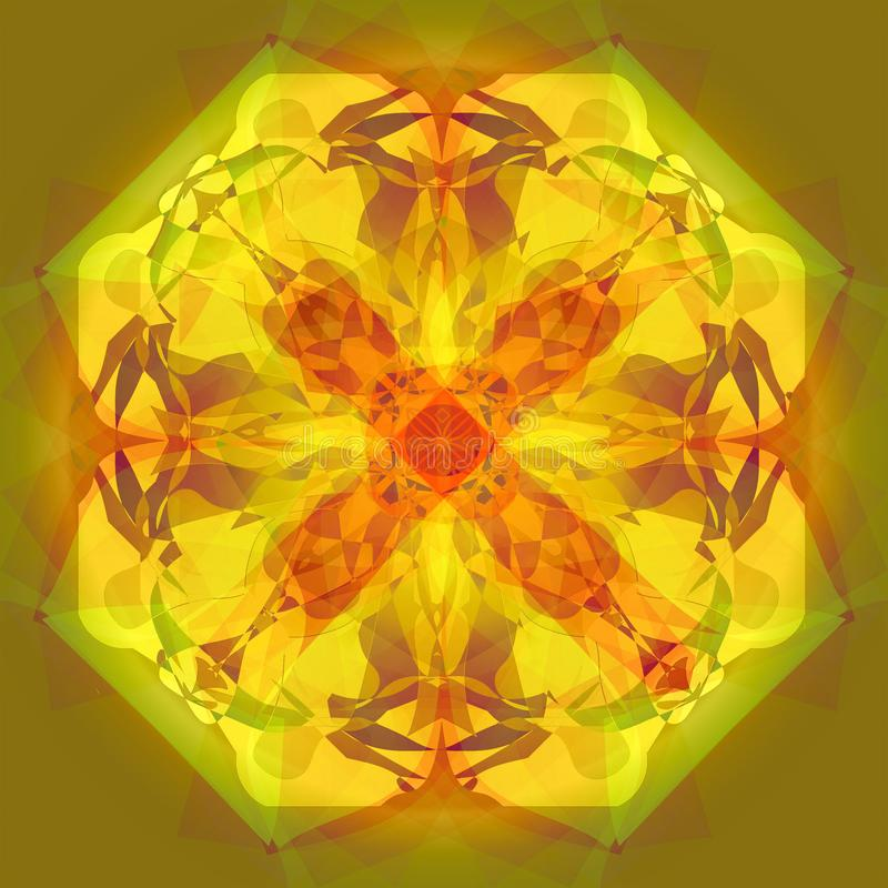 BRIGHT FLOWER MANDALA. CENTRAL FLOWER IN YELLOW, LIGHT GREEN, BROWN AND ORANGE. PLAIN OLIVE BACKGROUND stock illustration
