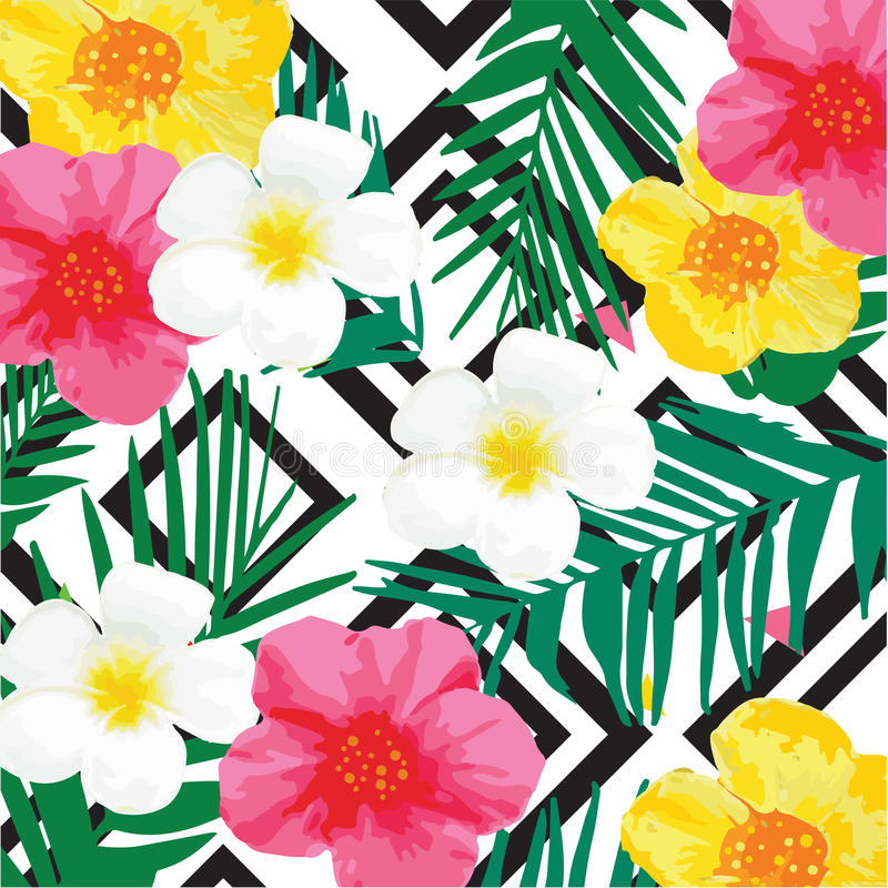 Bright Flowers Background with Geometric Ornament. Black Stripes. Vector Illustration. Eps 10 royalty free illustration