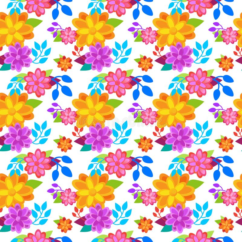 Bright Flowers Background Seamless Pattern Spring Colorful Floral Ornament royalty free illustration