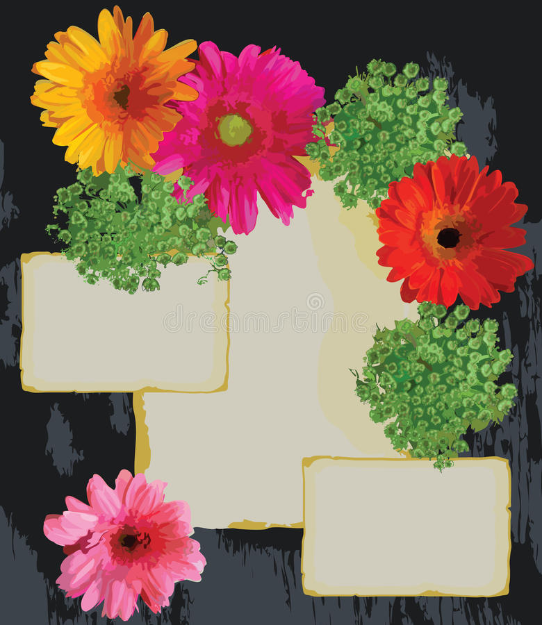Bright Flowers and old paper on a wood background stock illustration