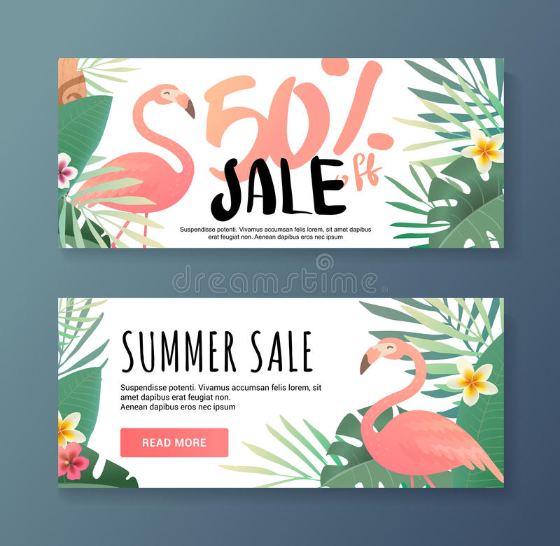 Bright flyer with flamingos. stock illustration