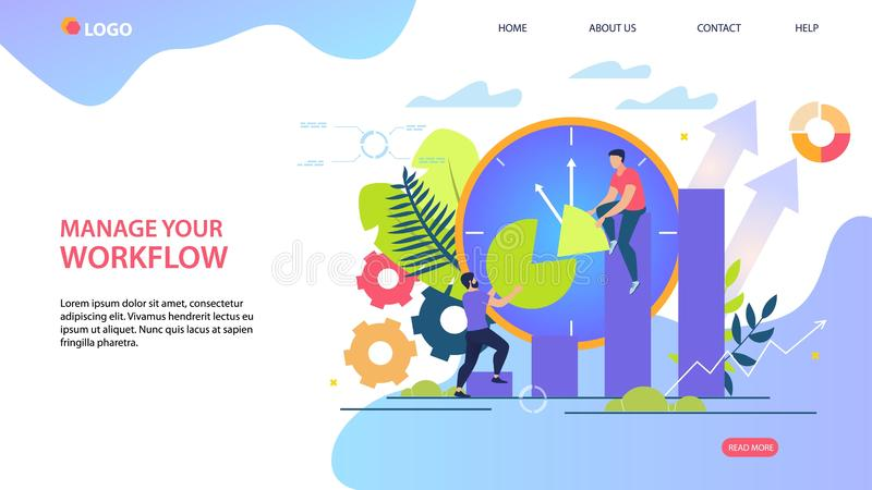 Bright Flyer Inscription Manage Your Workflow. Effective Tools to Help Manage Your Workflow. Men Collect Dial from Elements. Time Management Mechanism Cartoon stock illustration