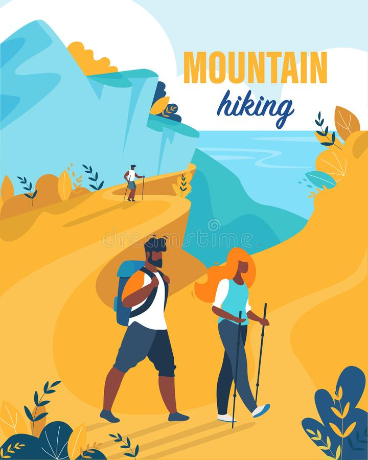 Bright Flyer is Written Mountain Hiking Cartoon. stock illustration