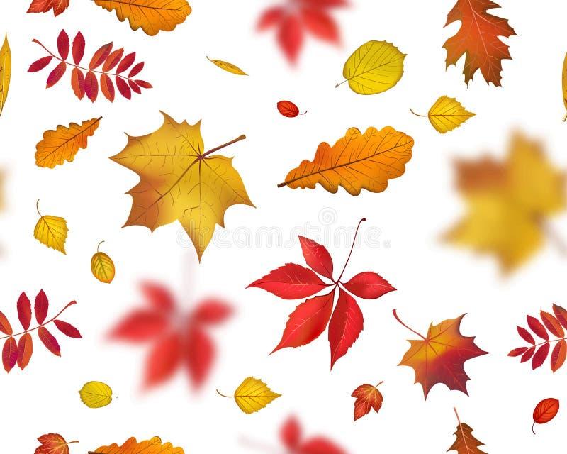 Bright flying autumn leaves seamless pattern stock illustration