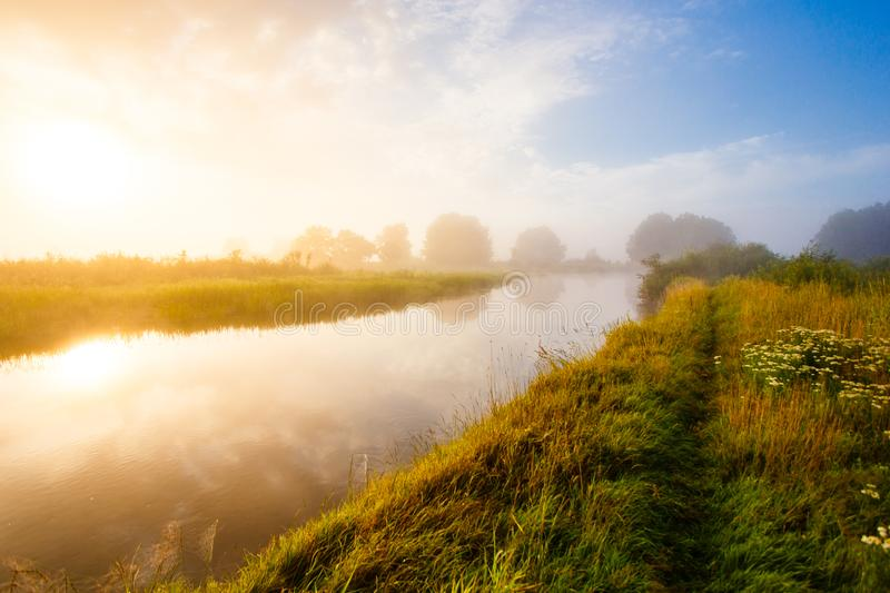 Bright foggy sunrise over the river in summer. Narrow footpath a royalty free stock photography