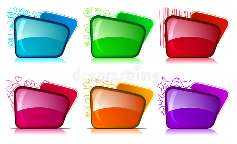 Bright folders with different color and themes