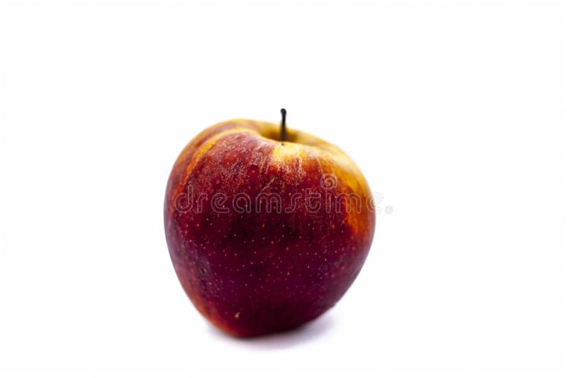 Bright Fresh Organic Shimla Apple Or Common Indian Apple Or Himachal Apple Isolated On White. Stock Image