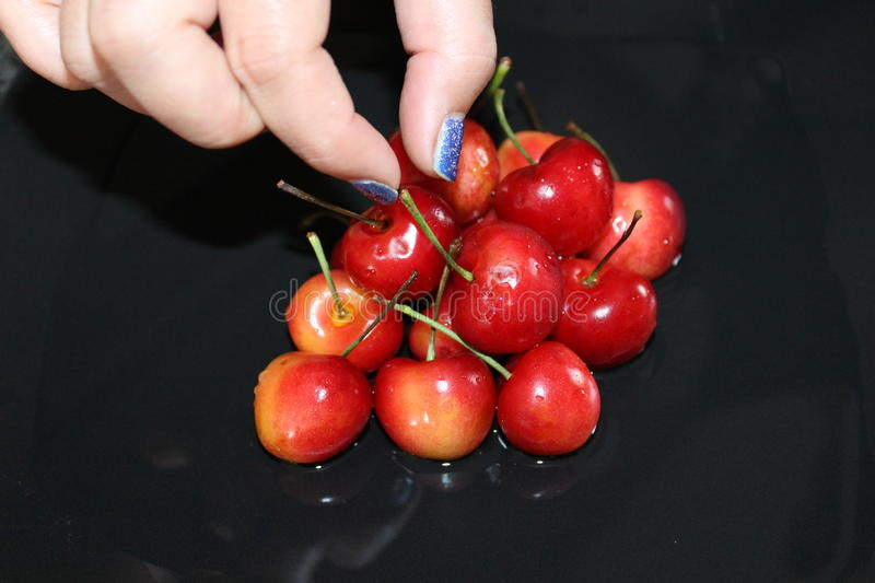 Bright fresh red cherries stock images