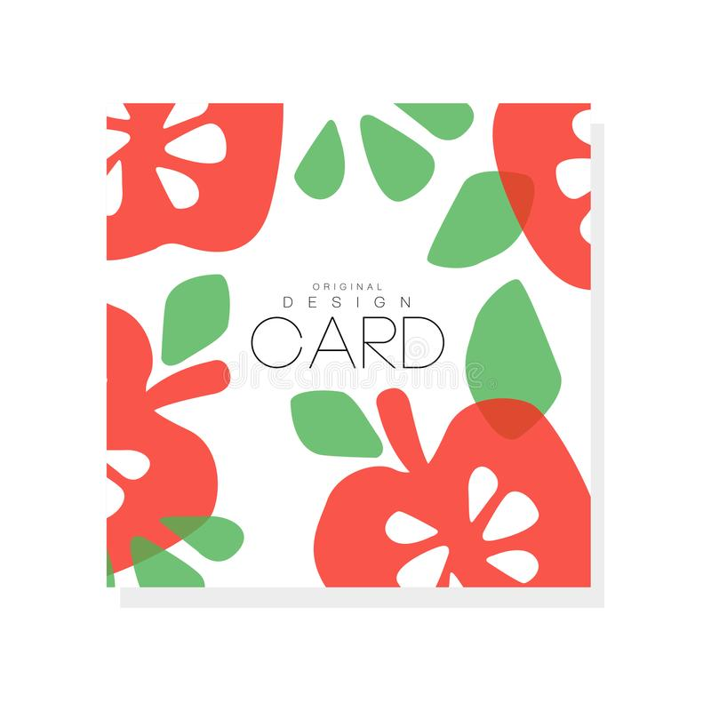 Bright fruit card with red apples and green leaves. Vegetarian nutrition. Organic and tasty food. Abstract vector design. Bright fruit card with red apples and royalty free illustration