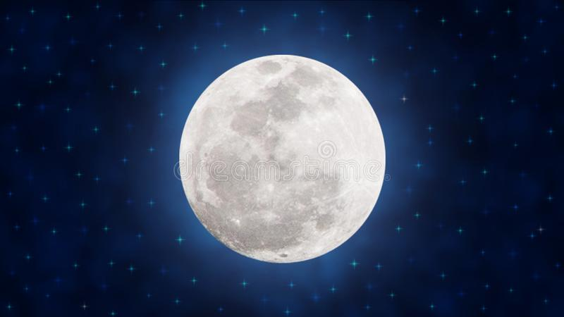 Bright Full Moon and Twinkle Stars in Dark Blue Night Sky royalty free stock photography