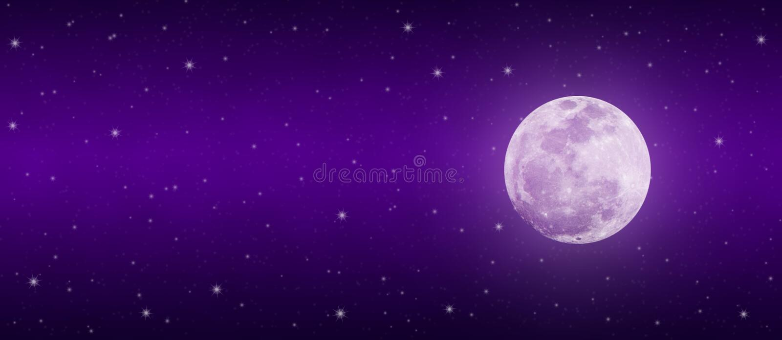 Bright Full Moon and Twinkle Stars in Dark Purple Night Sky Banner stock photos