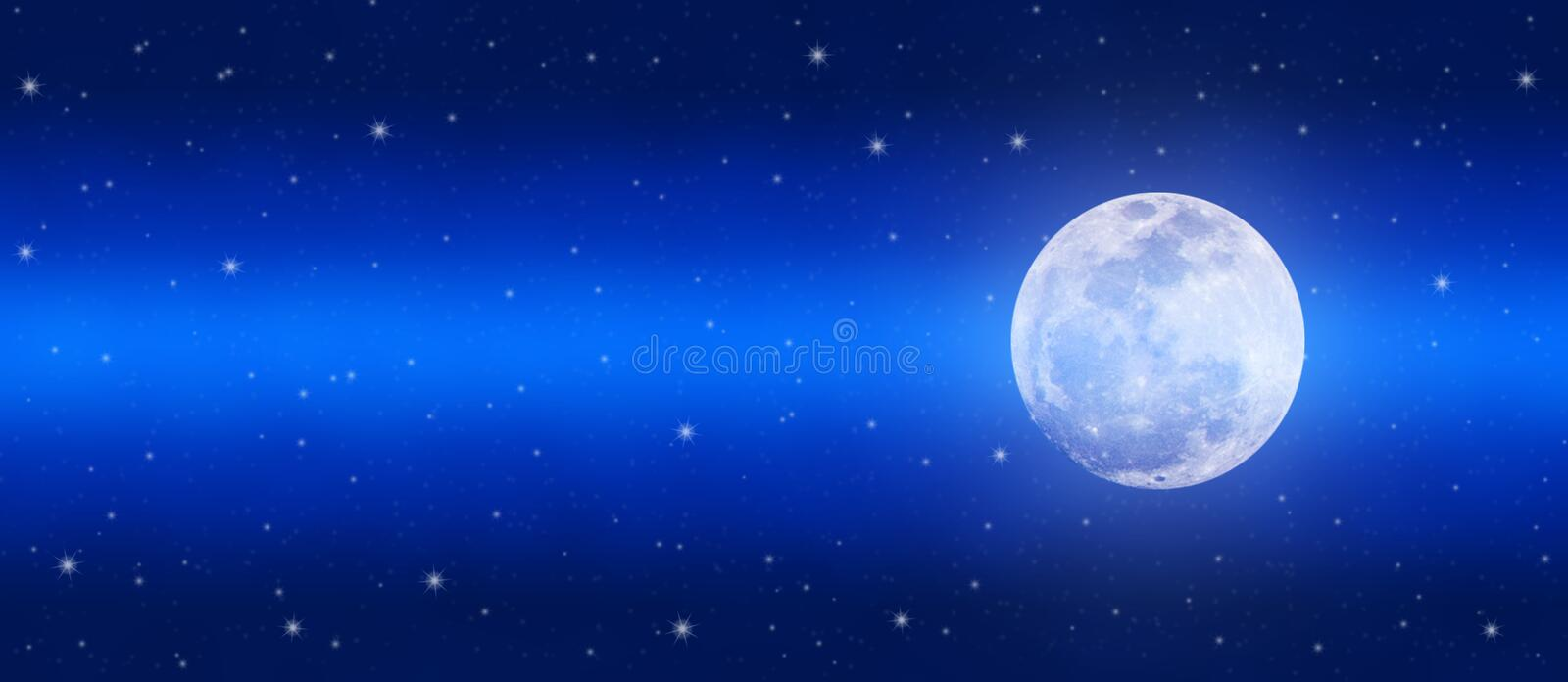 Bright Full Moon and Twinkle Stars in Shining Blue Night Sky Banner stock image