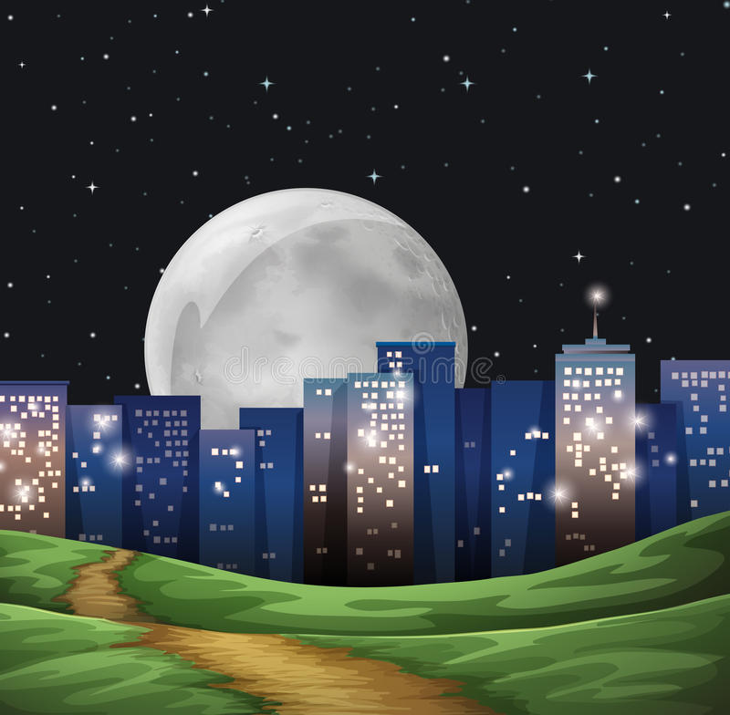 A bright fullmoon in the city royalty free illustration