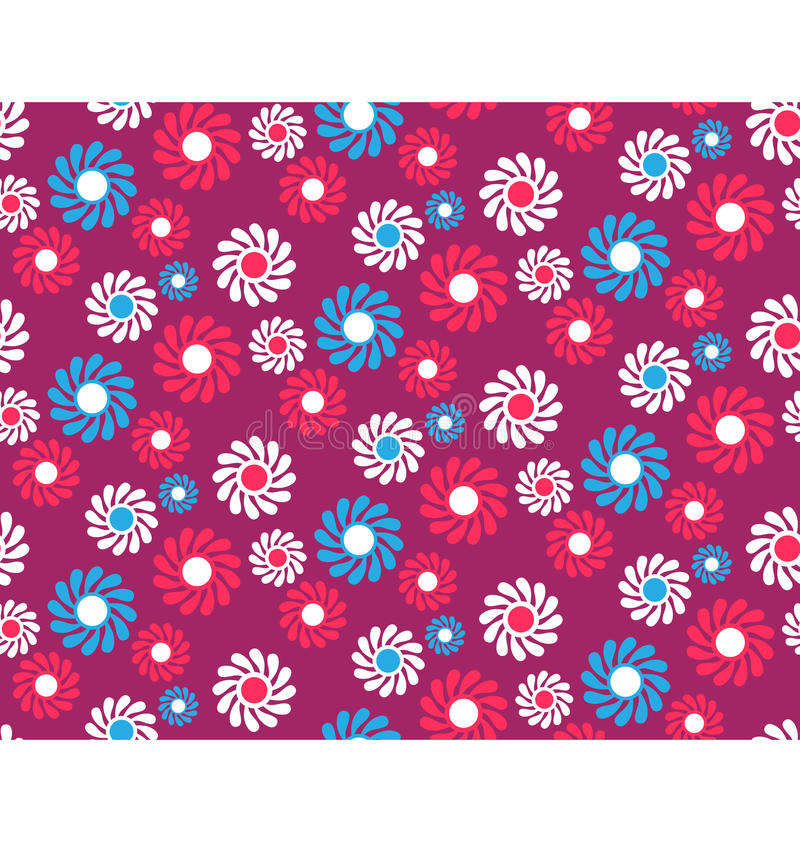 Bright Fun Abstract Seamless Pattern with Flowers on Vi royalty free illustration