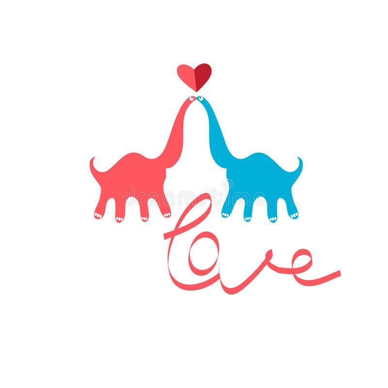 Bright funny greeting card with in love kissing dinosaurs vector illustration