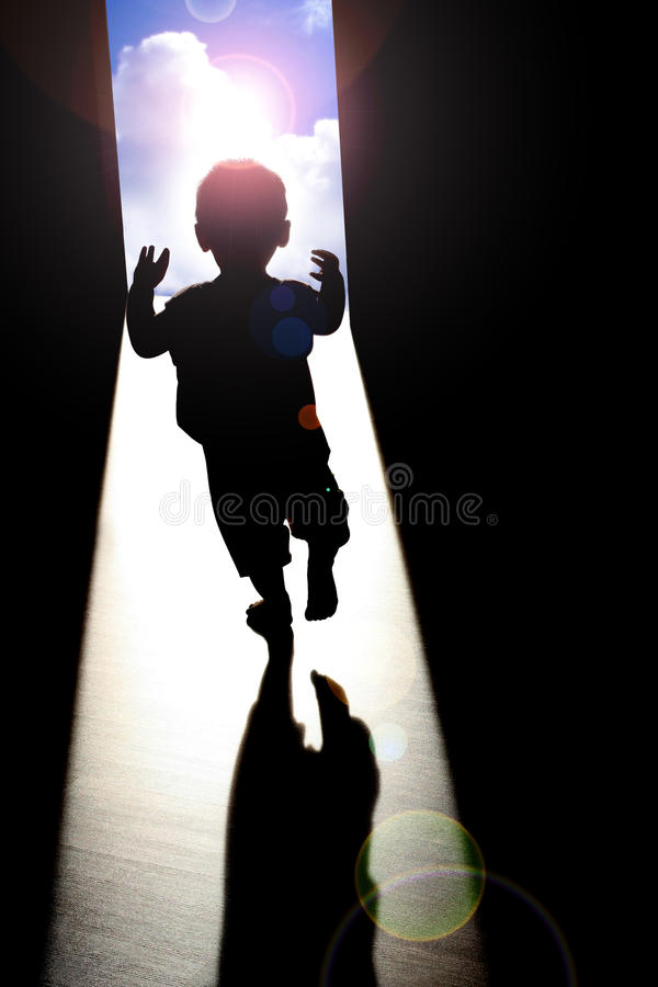 Bright future. A child walking toward a bright future