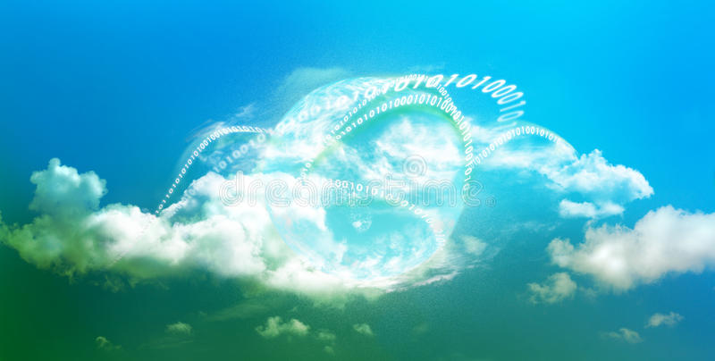 Bright future for cloud computing. Cloud computing technology with bright colors in panoramic view and illustrated with mother earth and digits stock photography