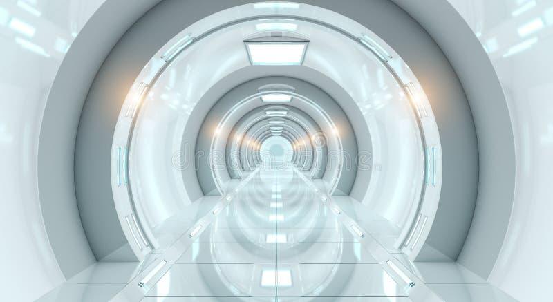 Bright futuristic spaceship corridor 3D rendering vector illustration