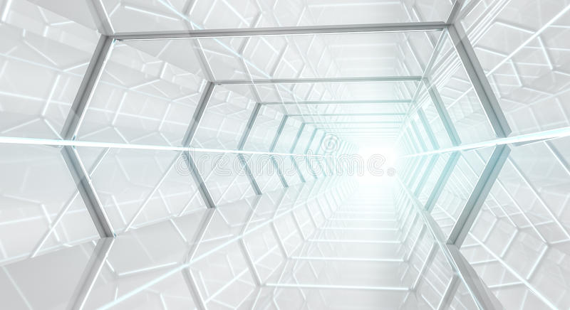 Bright futuristic spaceship corridor 3D rendering royalty free illustration