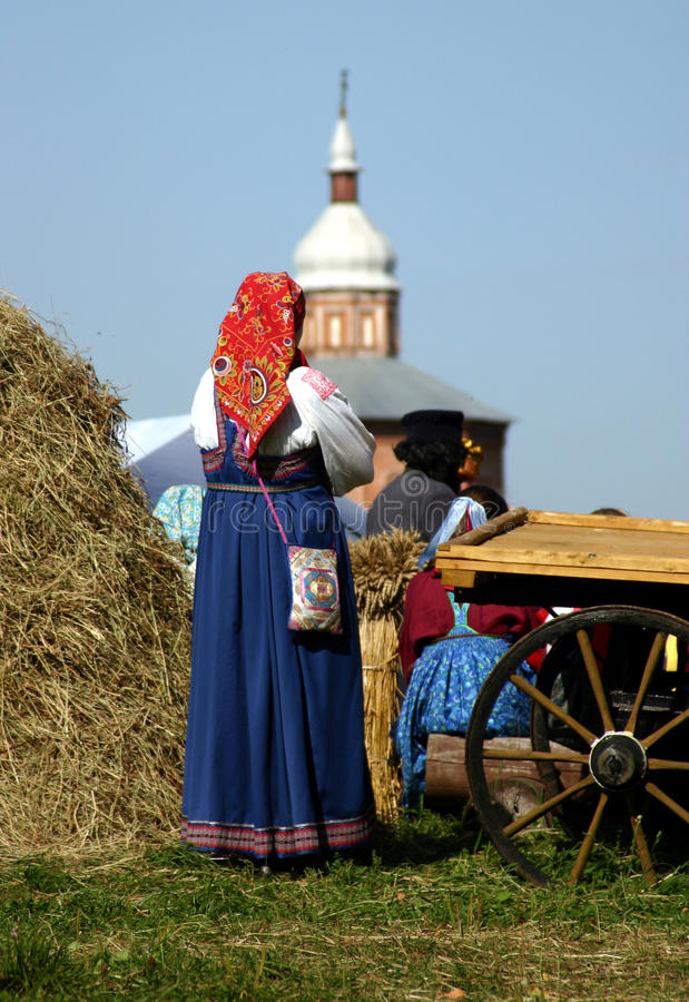 Bright garments of Russian peasants royalty free stock images