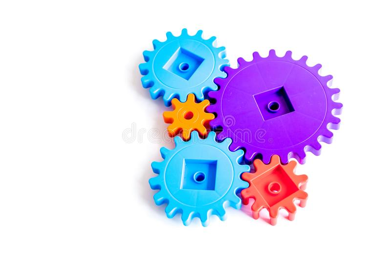 Bright gears for great technology of team work and correct mechanism on white background copyspace stock photography