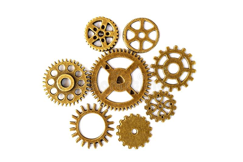 Bright gears on white background, lots of round gears with royalty free stock photography