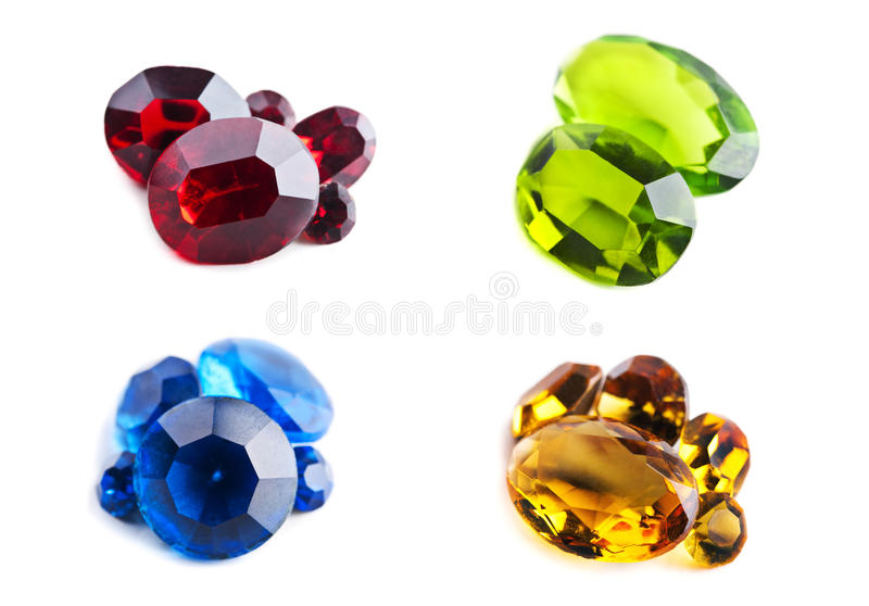 Bright gems. Isolated on a white background. Image was made up of several photo stock photo