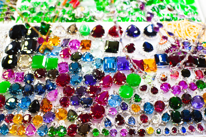 Bright gems and jewelry stock images