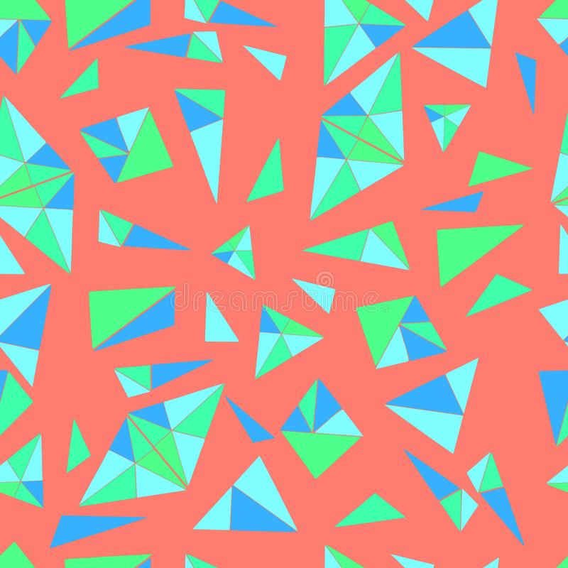 Bright,geometric pattern of many small triangles in blue color, stock illustration