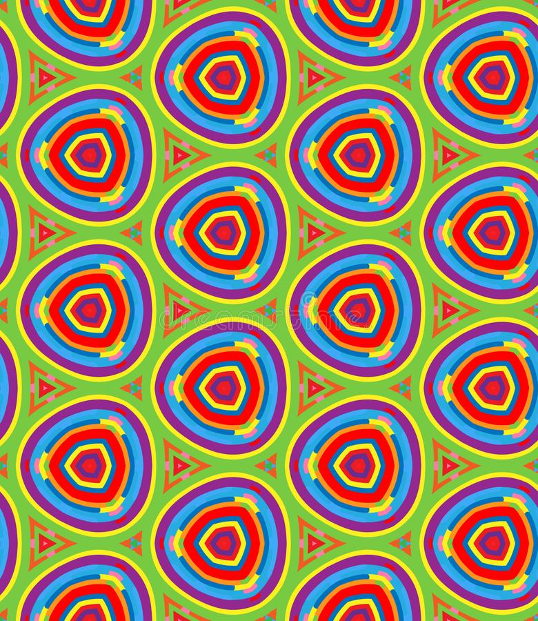 Bright Geometric pattern in repeat. Fabric print. Seamless background, mosaic ornament, ethnic style. stock illustration