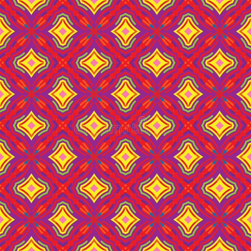 Bright Geometric pattern in repeat. Fabric print. Seamless background, mosaic ornament, ethnic style. vector illustration