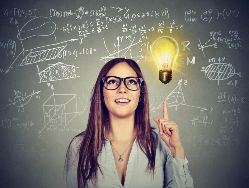 Bright girl having great idea stock image