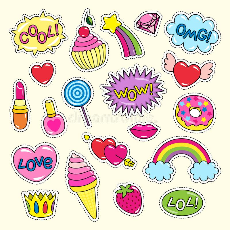 Bright Girlish Stickers in Pink and Red Colors Set. Bright girlish stickers of pink and red colors set. Ice cream in cone, cute hearts, shiny rainbows, sweet vector illustration